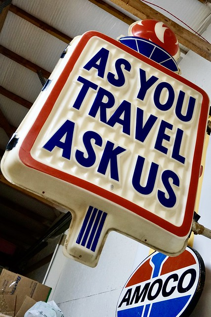 As You Travel Ask Us Sign - Amoco Petroliana Collection- Selma, NC