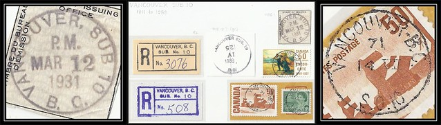 British Columbia / B.C. Postal History - VANCOUVER SUB POST OFFICE No. 10 - Examples of CDS Cancels (B1) & MOOD Cancel (MOOD1) & Registered Box Markings (R2) on Piece and Stamp (#1)