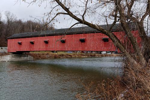 bridge oldbridge coveredbridge red rustic hoosicriver river winter landscape rural historical americana 1850 trussbridge woodenstructure buskirk hoosick rensselaercounty capitaldistrict newyork outdoor quaint pentax pentaxart kmount k70 hdpentaxda1685mmlens