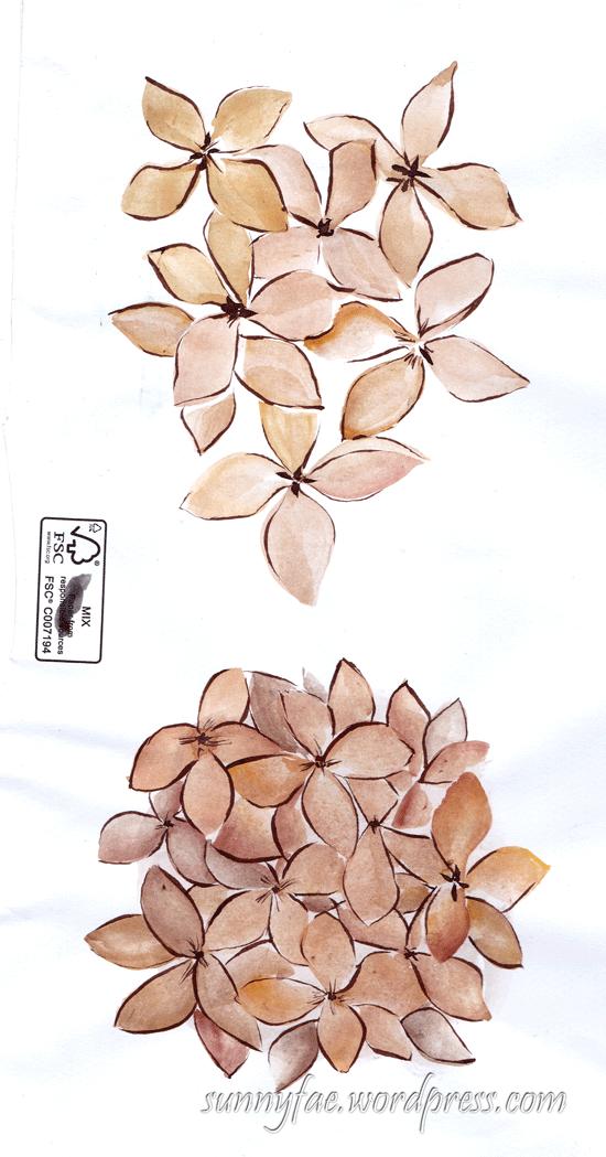 envelope doodle of hydrangea
