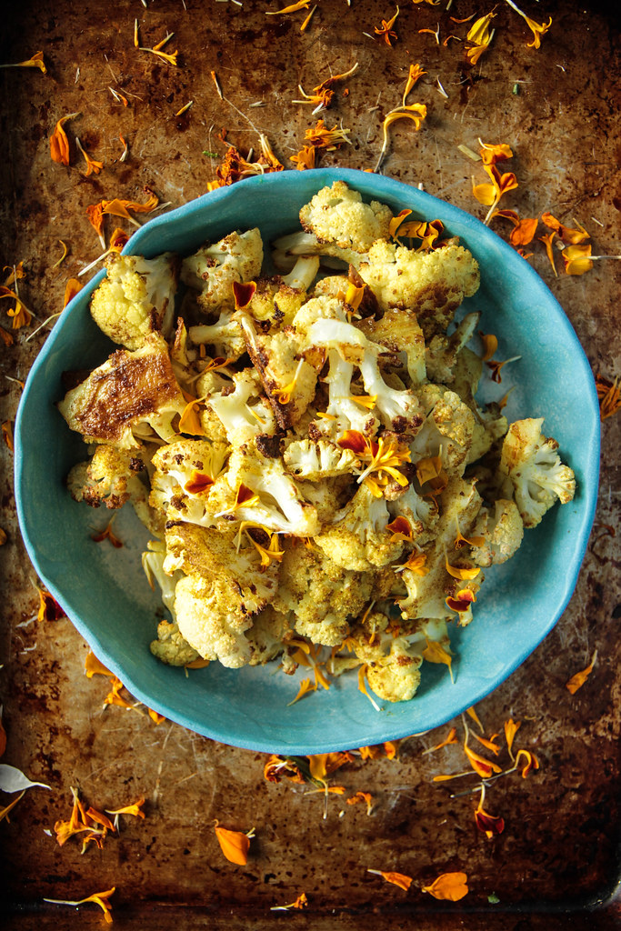 Curry Roasted Cauliflower From HeatherChristo.com