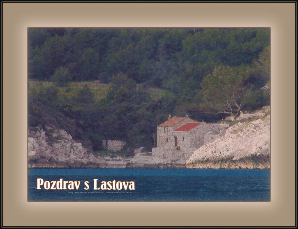 0858 R Lastovo. Zace uvala. Razglednica. Pozdrav s Lastova Foto: Petar Grgurević 2003. VT