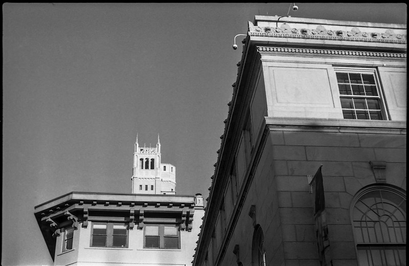 looking up, architectural forms and movements, downtown, late light, Asheville, NC, Pentax Spotomatic, Super Takumar 50mm f-1.4, Eastman Double-X 200, CineStill Film Df96 Monobath developer, 1.5.20