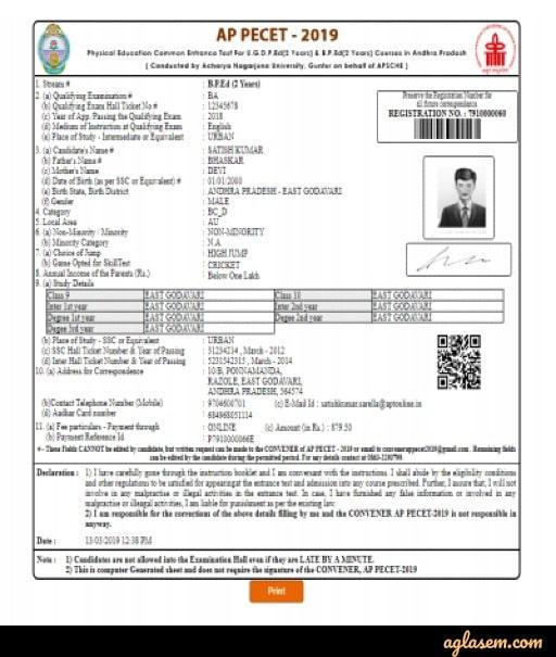 AP PECET application form sample