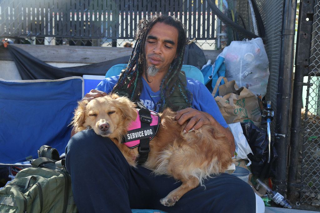 Homeless man and his dog in Venice California