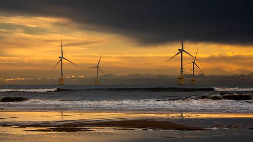 aberdeen windfarm sunrise sunset landscape water beach scotland sea sky sand red canon canon5d eos