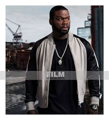 POWER KANAN (50 CENT) BLACK AND WHITE LEATHER JACKET