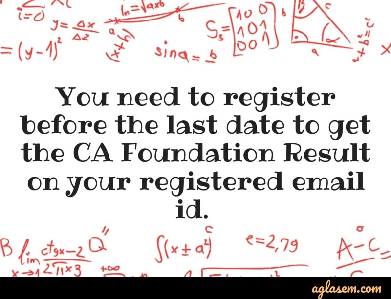 CA Foundation 2019 result by email