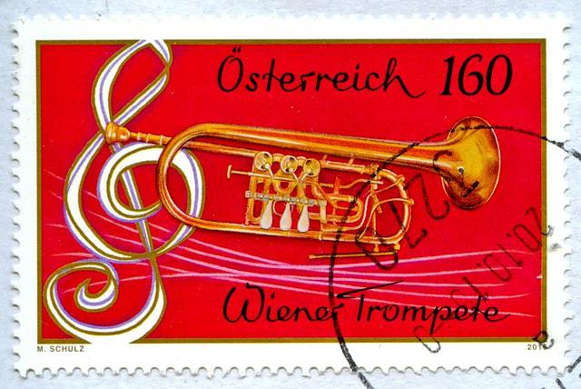 great stamp Austria 160c Wiener Trompete (Viennese Trumpet, Trompette de Vienne, Венская труба, 维也纳小号, Wenen trompet, Trąbka wiedeńska, ウィーンのトランペット, Wien trompet, Trompeta de viena, Trompete de viena) postage timbre Autriche selo sello francobollo Austria