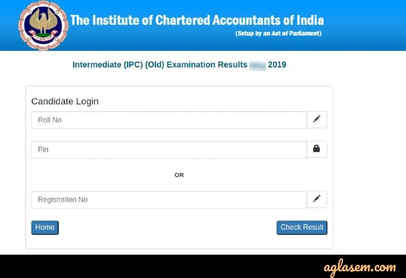 CA IPCC result 2019 login