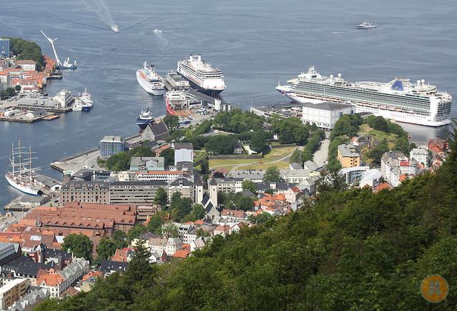 Cruise ships docked in Bergen, Norway