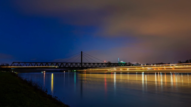 Blue hour Rhine traffic