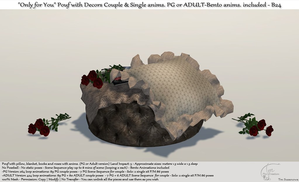 """.:Tm:.Creation """"Only for You"""" Pouf with Decors and anims. B24"""