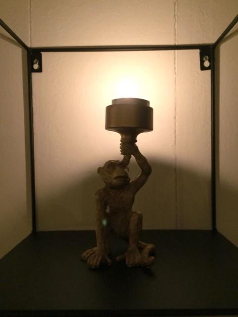 Waxinelichthouder aap goud