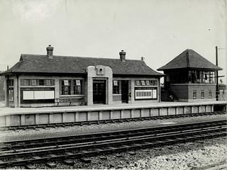 London & North Eastern Railway - Otterington station, Yorkshire, 1933 - main buildings, platform side
