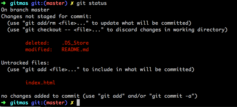 screenshot of my terminal with the results of the git status command
