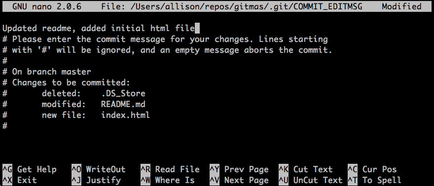 screenshot of git commit in nano