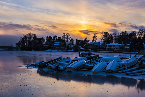 canon6d sunset sea landscape boats frozensea outdoors outside espoo finland sun