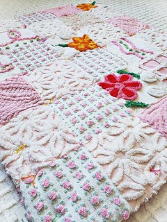 """Vintage Chenille FLOWER POWER Patchwork Heirloom Quality Baby Quilt Baby Blanket - """"Perfect Gift for a Baby Girl"""""""