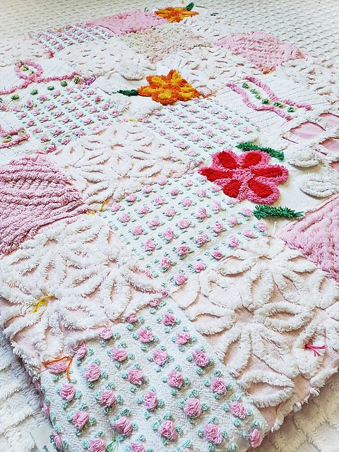 Vintage Chenille FLOWER POWER Patchwork Heirloom Quality Baby Quilt Baby Blanket -