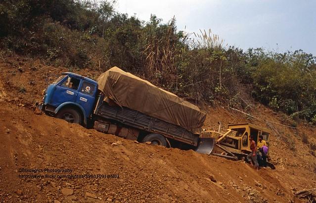 near Muang Xai, local traffic problems