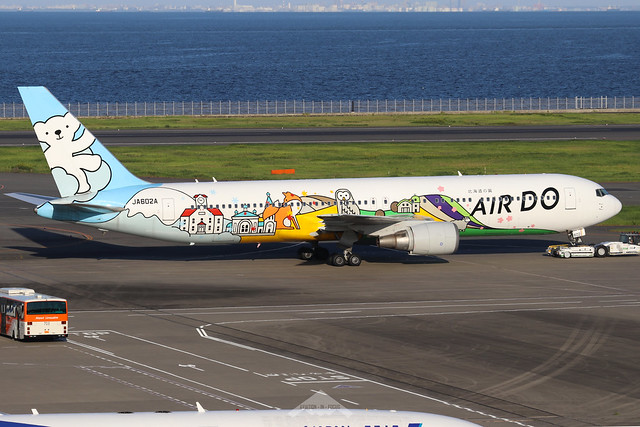 JA602A  -  Boeing 767-381  -  Air Do (Bear Do Hokkaido Jet colours)  -  HND/RJTT 9/10/19
