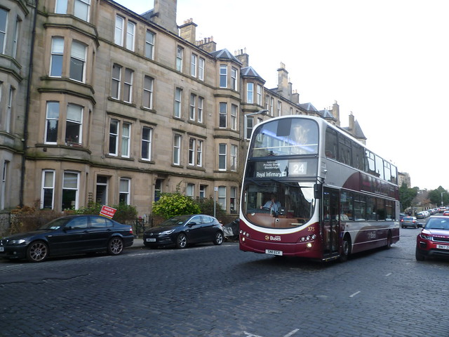 Route diverted!  Lothian 375 in Comely Bank Avenue, Edinburgh.