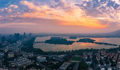 nanjing jiangsu peoplesrepublicofchina city summer cloud lake sunrise island cityscape aerial hdr drone sky urban nature skyline landscape downtown outdoor horizon birdseyeview xuanwulake