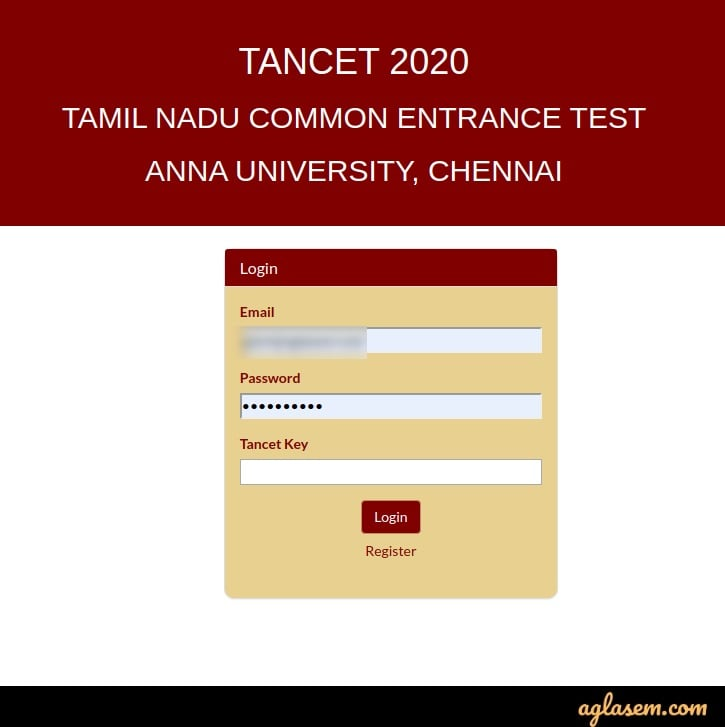 TANCET 2020 application status