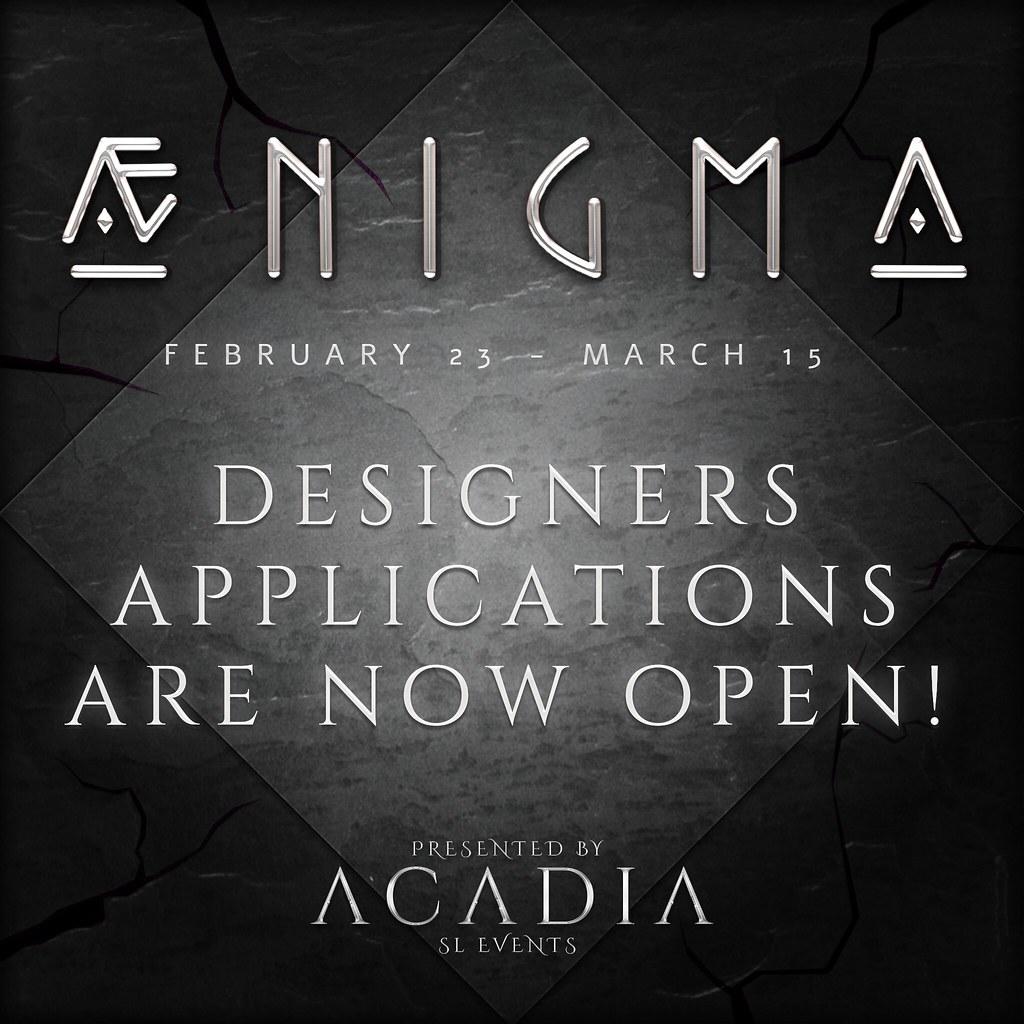 Aenigma // Designer Applications are OPEN