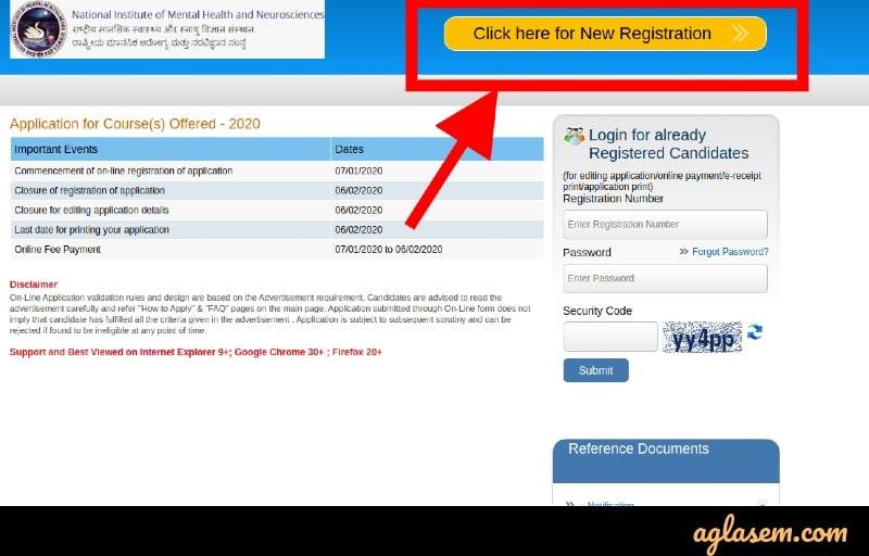 NIMHANS 2020 online registration