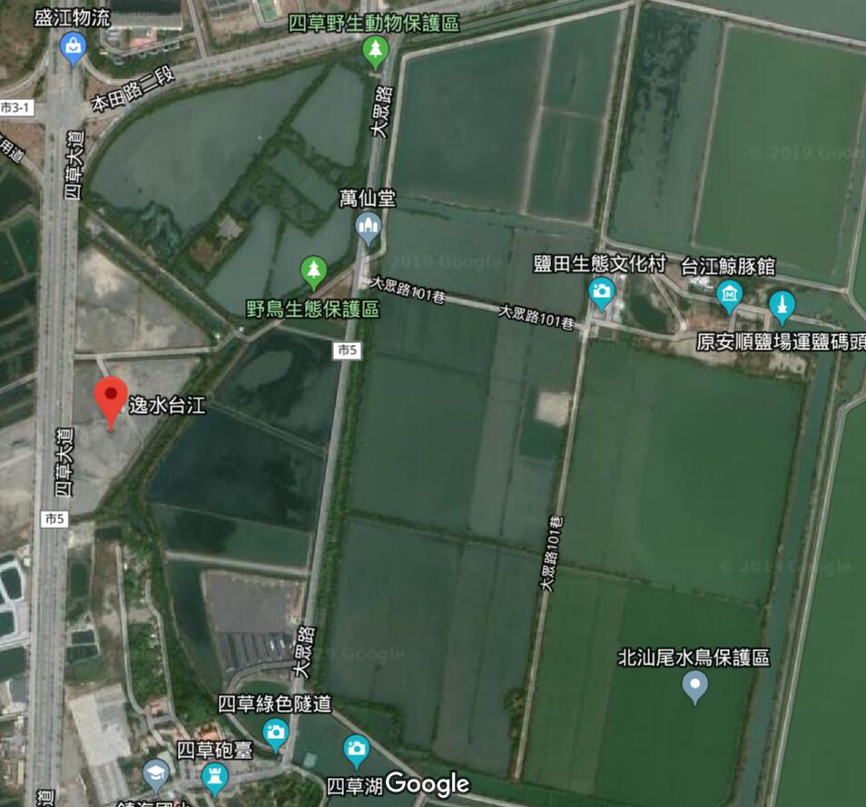 逸水台江基地位於四草大道與本田路口旁,緊鄰生態保護區。擷取自Google Map