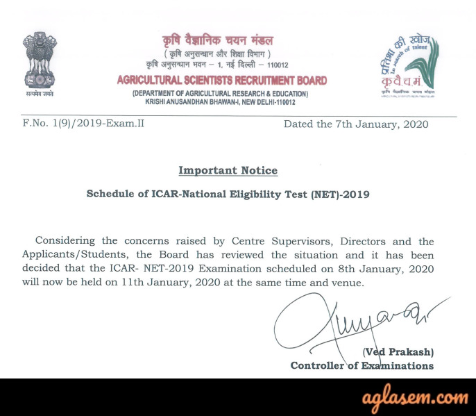 ASRB NET 2020 (ICAR NET): National Eligibility Test for Agricultural Universities