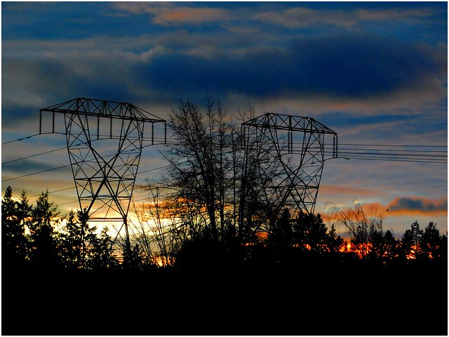 Pylons, Silhouettes, Bird, Clouds, Sunset