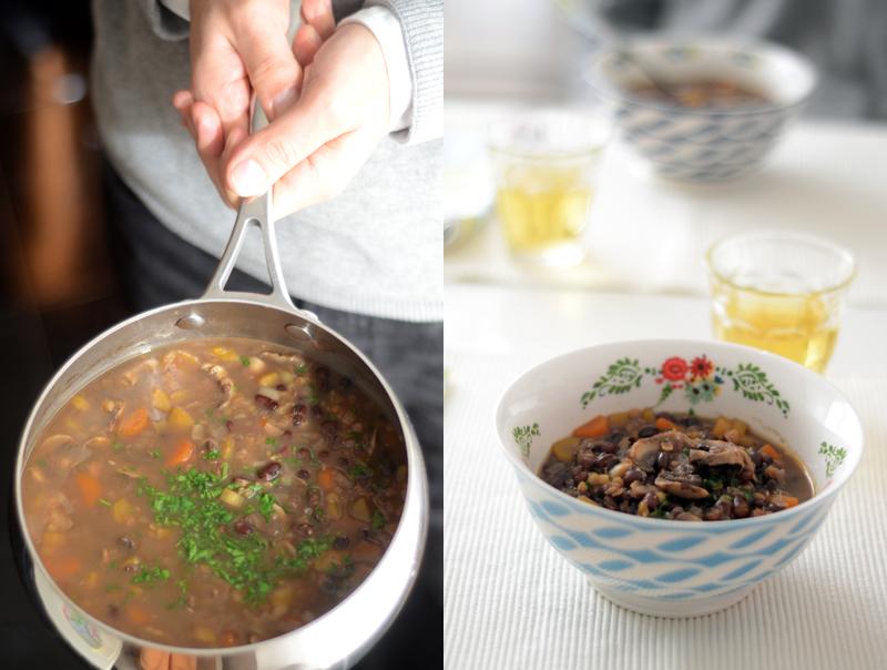 Sopa de feijão adzuki e cogumelos