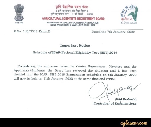ICAR ASRB NET 2020 Postponed From 8th Jan to 11th Jan Due To Bharat Bandh; Check Notice