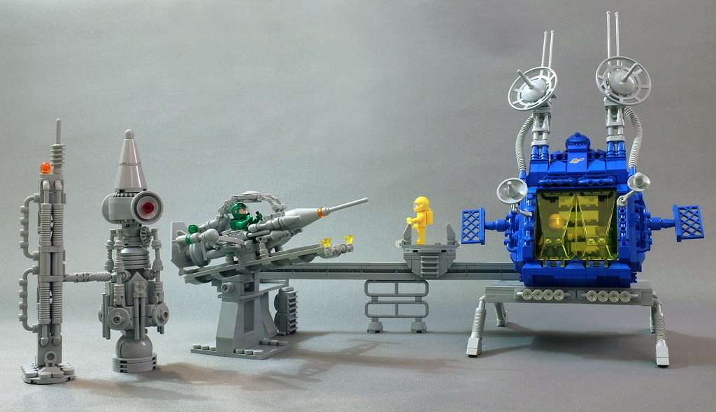 Space station with rocket launcher and monorail