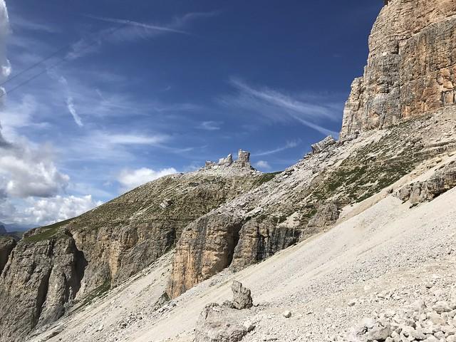 Slip sliding down Passo Pordoi
