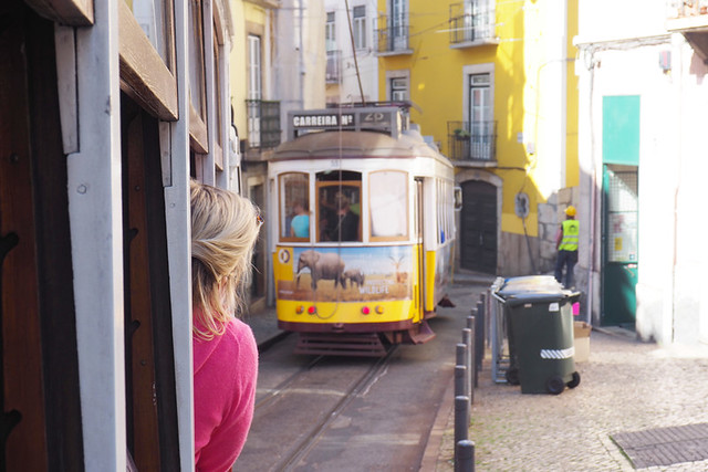 Following the 28 tram, Lisbon, Portugal