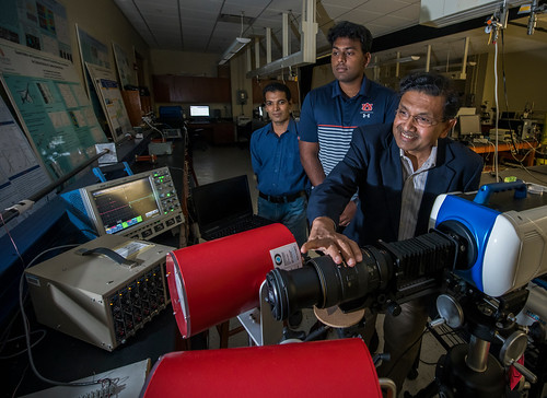 Hareesh Tippur and two students work with high-speed photography to capture fracture events at 5 million frames per second