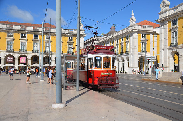 The red tram, Lisbon, Portugal