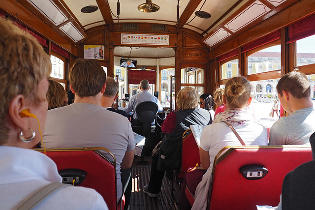 Inside the red tram, Lisbon, Portugal