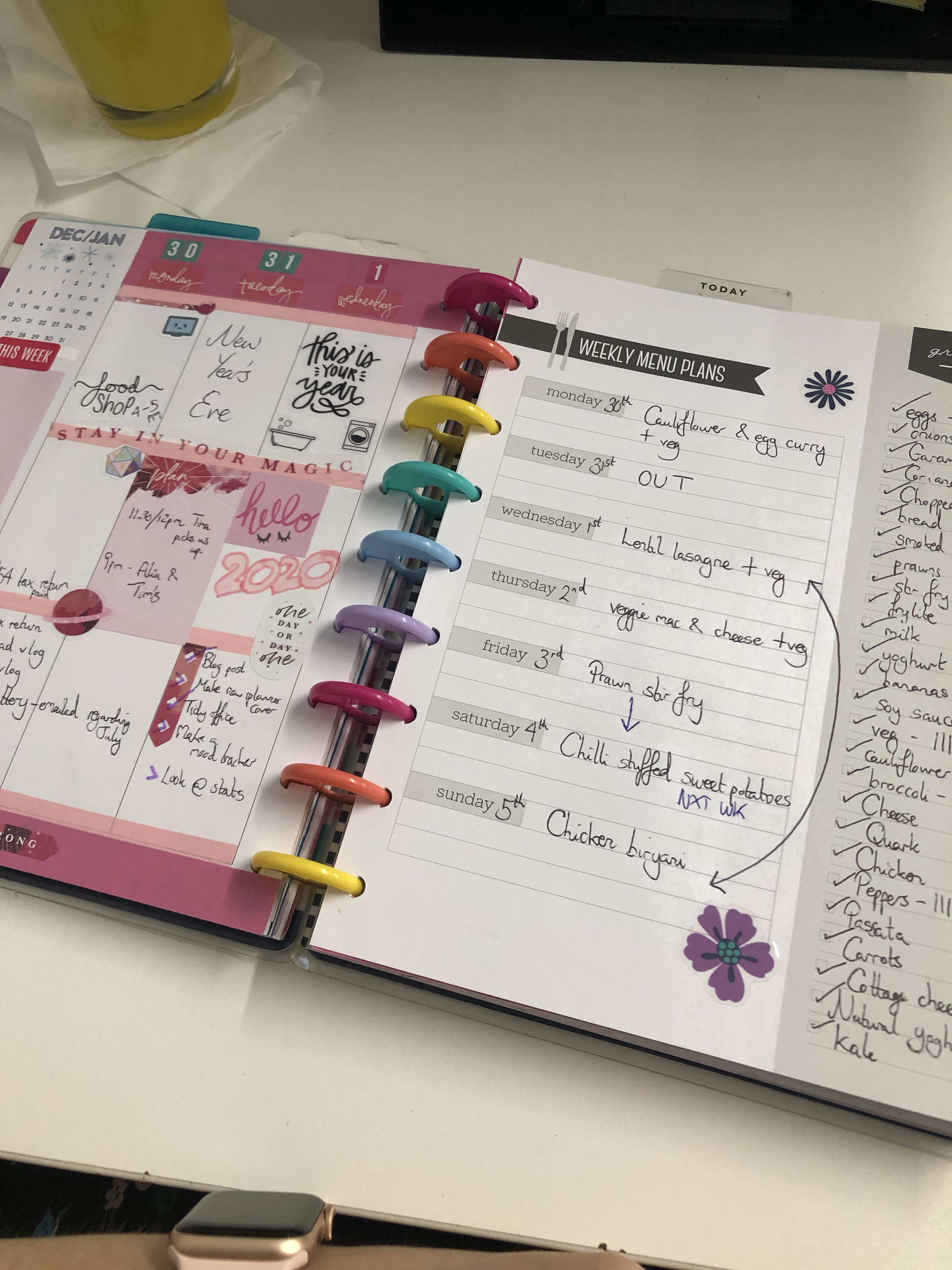 meal planner spread