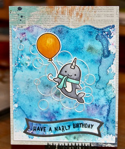 Lawn Fawn Winter Narwhal, You are Sublime, Stitched Wimple Wavy Border, Fancy Wavy Banner, Memory Box Loopy Rings, SSS Stitched Shapes