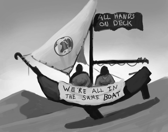 A monochrome sketch showing 2 figures in a boat, with a banner on the side reading We're all in the same boat Illustrator: Keegan Blazey
