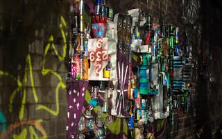 Day 7: Womble wall (litter sculpture under bridge)