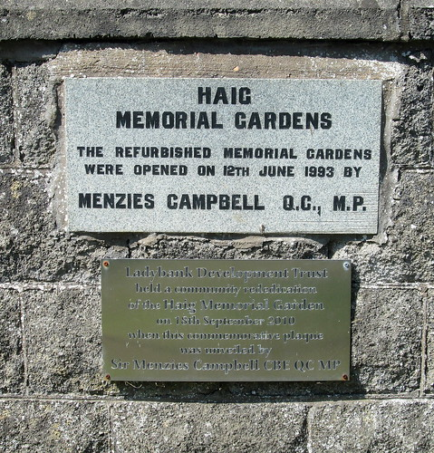 Refurbishment Plaque Haig Memorial Gardens, Ladybank