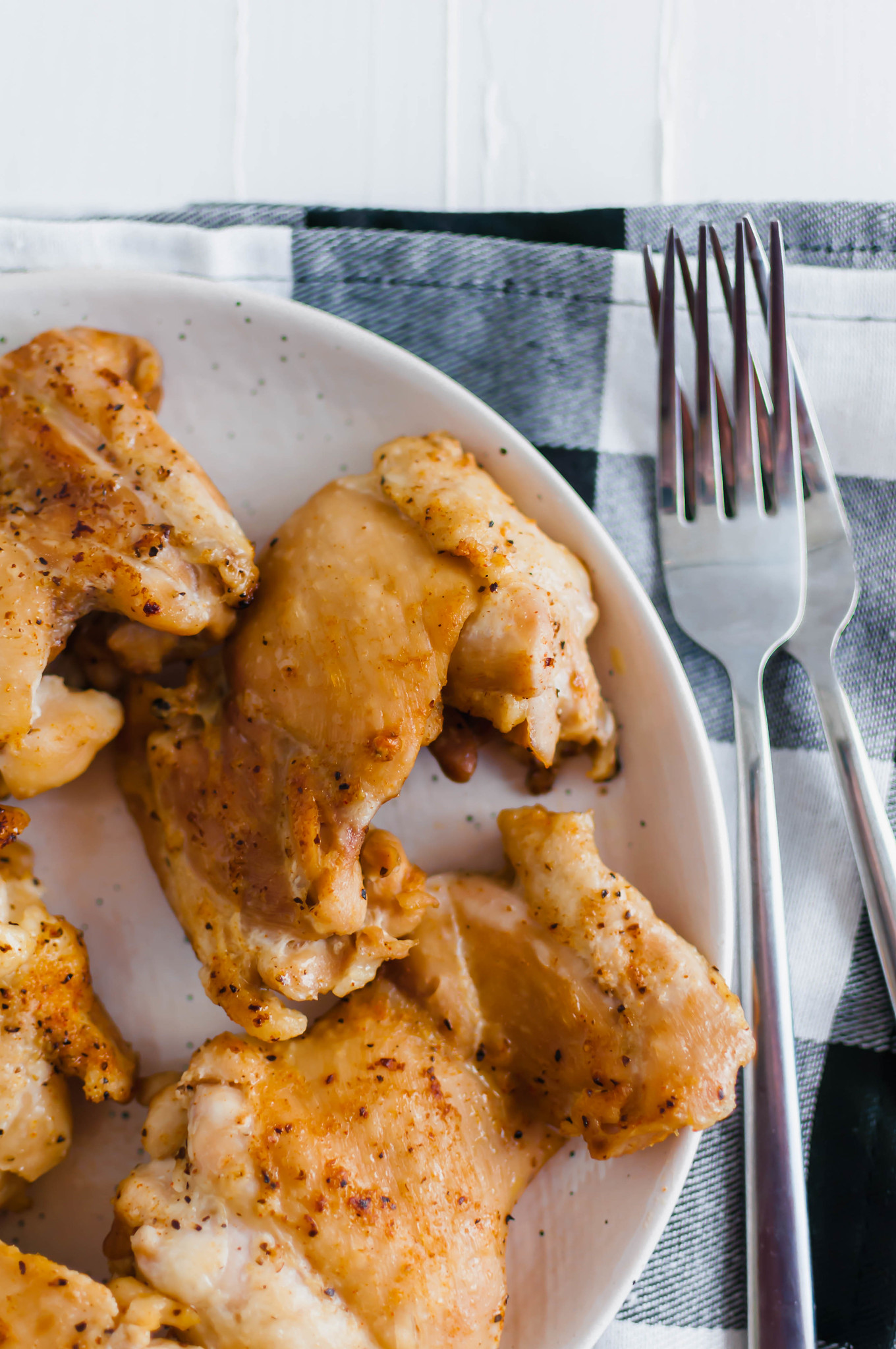 These basic Instant Pot Chicken Thighs will change your meal prep game. Simple to make and so many ways to utilize them. Make a simple pan gravy with the drippings or add to other recipes.