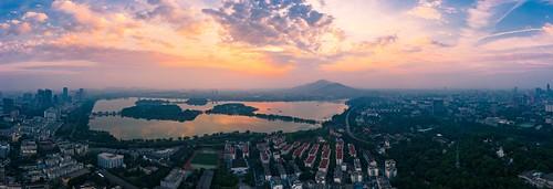 nanjing jiangsu peoplesrepublicofchina panorama sunrise sky skyline landscape drone aerial cloud hdr city cityscape urban lake xuanwulake outdoor