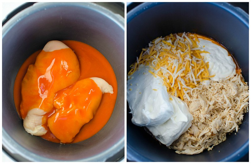 Instant Pot Buffalo Chicken Dip Process Shots